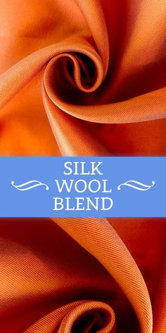 Silk and Wool Blend in Melon Orange Textile Pattern Design, Textile Patterns, Sewing Patterns, Textiles, Fashion Infographic, B And J Fabrics, Different Types Of Fabric, Jewellery Sketches, Fabric Textures