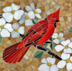 Mosaic art cardinals / stained glass mosaic by ShellyHeissDesigns Mosaic Art, Mosaic Glass, Vitrail Cardinal, Stained Glass Cardinal, Amber Sky, Christmas Mosaics, Purple Gray, Gray Green, Yellow