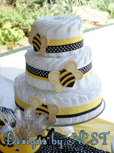Diaper Cake, Bee Theme Great for Baby Shower   Created by: Designs by NEST  www.facebook.com/DesignsByNEST