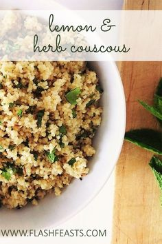 Lemon & herb couscous: Serve this simple, fresh couscous dish with a tagine or as part of a summer barbecue spread.