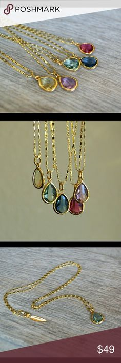 """SALE!! Beautiful crystal pendant necklace Tear shaped, crystal pendant sits on an 18"""" gold plated chain. Gold leaf detail at clasp. Great for layering with other delicate pieces! 5 available in either blue, green, yellow, red or purple. Please indicate in comment section which color you would like when purchasing.   Care notes: gold chain is tarnish resistant, but it is best to remove before going in water to increase longevity.   Price is firm on this item! Jewelry Necklaces"""