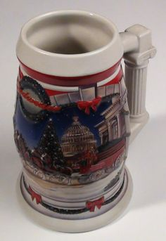 "BEER STEIN 2001 Budweiser Holiday Stein ""HOLIDAY AT THE CAPITOL"""