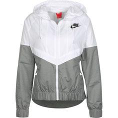 Nike W Windbreaker weiß grau ($85) ❤ liked on Polyvore featuring activewear, nike, nike activewear and nike sportswear