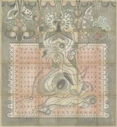 Leda & Swan by Louise Despont  Graphite and colored pencil on antique ledger book pages