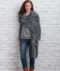 Arm Knitting Fringed Wrap