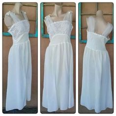 Vintage 1950s White Nightie Princess Bridal 50s Nightgown B36 2015525 - pinned by pin4etsy.com