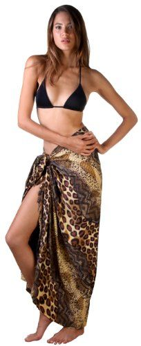 Sexy exotic animal print sarong and coverup is great for beach or cruise holidays.