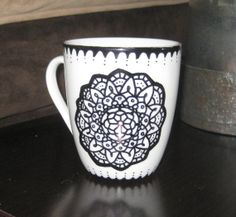 Floral Stained Glass Design Sharpie Mug  For by OfWillowsAndWind, $15.00