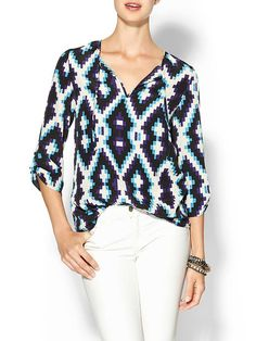 Hive & Honey Printed Popover Blouse | Piperlime