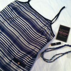 Blue striped shift dress This is adorable,chic and shabby. Sexy or business this dress is lovely. Spaghetti strap zip up back size medium 100% polyester dry clean only. Pockets in front with gold tone button. Smoke free snag free Collective Concepts Dresses Mini