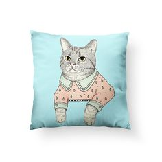 Cat Lady Cat Throw Pillow - 20 by 20 inches / Stuffed / Ice Blue