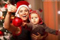 Mom with Baby on Merry Christmas 2013 Pictures Ideas for Family Wallpapers