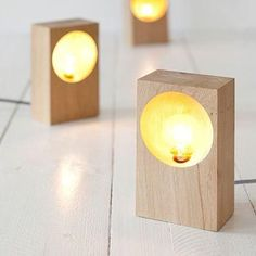 34 wood lamps that look so nice you will want to DIY immediately. Any piece of wood can be used to add personality to a room and emphasize your unique style and we love this material for lighting. Rustic Lighting, Cool Lighting, Lighting Design, Accent Lighting, Wooden Lamp, Wooden Diy, Wooden Signs, Handmade Wooden, Diy Luminaire