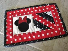 $13.95  Red Black Mickey Mouse Quilted  String Quilt  Candle Mat Mug Rug Mini Quilt