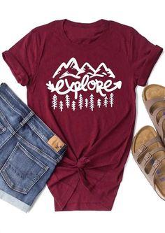 2018 Fashion Women T-Shirt Explore Mountain Tree Short Sleeve T-Shirt Summer Casual Female O-Neck t shirt Ladies Tops Tee Estes Park Colorado, Aspen Colorado, Denver Colorado, Colorado Springs, Breckenridge Colorado, Summer Camping Outfits, Hiking Outfits, Outfit Summer, Climbing Outfits