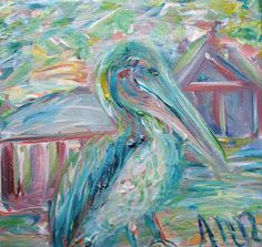 #Impressionistic & #colorful #Pelican #painting by #Ann #Lutz.