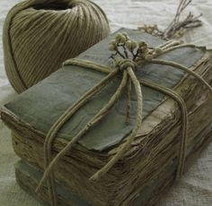 old books and twine