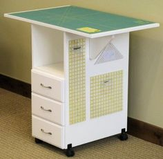 Fashion Sewing Cabinets Sewingrite Cutting Craft Desk Utility Table With 3 Storage Drawers, Drop Leaf White Sewing Room Design, Craft Room Design, Sewing Spaces, My Sewing Room, Sewing Rooms, Craft Storage Drawers, Craft Room Storage, Storage Ideas, Storage Cabinets