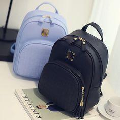 USA Women Leather Backpack Shoulder Satchel School Rucksack Handbag Travel Bag - Handbag - Ideas of Handbag Backpack Cute Mini Backpacks, Stylish Backpacks, Girl Backpacks, School Bags For Girls, Girls Bags, Faux Leather Backpack, Pu Leather, Shoulder Backpack, Purses And Handbags