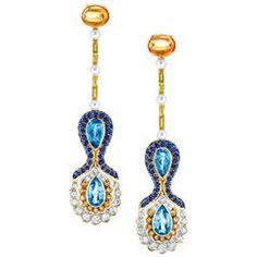 Diamond Blue Sapphire Aquamarine Pearls Mandarin Garnet  Gold Earrings