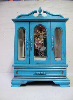 Vintage Wood Jewelry Box Distressed  in by VintageChichibean, $45.00