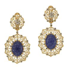 Buccellati one-of-a-kind earrings from its 60th Anniversary Pendant Earring collection bling, jewelleri, pendants, buccellati jewelri, tanzanit earring, blog, 60th anniversary, blues, earrings
