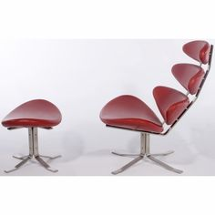 Paul Volther Corona Chair & Ottoman - by InMod - Chair: H 38.5  D 33.75  W 34.5 / Ottoman: H 18.5  W 29.5  D 18.5
