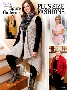 Today's fashions -- designed to flatter a plus-size woman!   Tunics, vests, cardigans, wraps, a hat and fingerless gloves are included in this great pattern book. All are made using Plymouth Yarn® in weights from fingering-weight to chunky-weight. Sizes range from XL to 5XL.