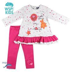 Conjunto de bebe para niña de WSPKIDS de camisola corazones y leggings