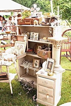 Good use of furniture at a craft fair to display product instead of your typical flat table.