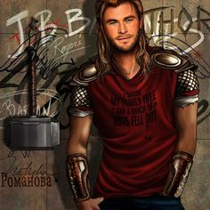 "Love this take of Thor also his tee ""I shook my family tree and a bunch of nuts fell out"""
