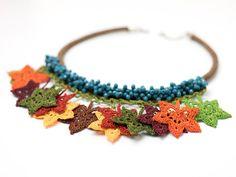 Necklace-Bohemian Crochet Maple LeafCrystal Beaded Handmade