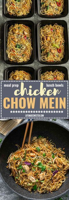 Chicken Chow Mein is the perfect easy weeknight meal! Best of all, it comes together in about 20 minutes in just one pot! Forget calling restaurant takeout, this recipe is so much better with authentic flavors. Seriously the best! Weekly meal prep for the Lunch Meal Prep, Meal Prep Bowls, Healthy Meal Prep, Healthy Eating, Stir Fry Meal Prep, Lunch Recipes, Dinner Recipes, Cooking Recipes, Healthy Recipes