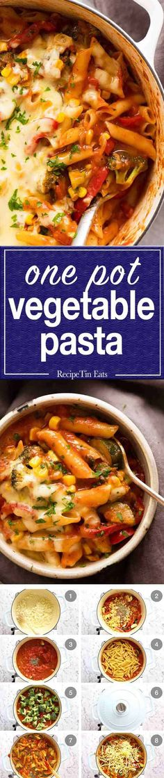 A quick vegetable pasta that's made with less pasta and more veggies that tastes so amazing, no one realises it's a healthy pasta recipe! Vegetable Pasta Recipes, Pasta Dinner Recipes, Pasta Dinners, Healthy Pasta Recipes, Healthy Pastas, Vegetarian Recipes, Cooking Recipes, Veggie Pasta, Vegan Meals