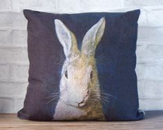 Black blue linen pillow case with rabbit print-decorative throw pillow cover - bunny print cushion cover - kids pillow by Ideccor on Etsy https://www.etsy.com/listing/157397772/black-blue-linen-pillow-case-with-rabbit