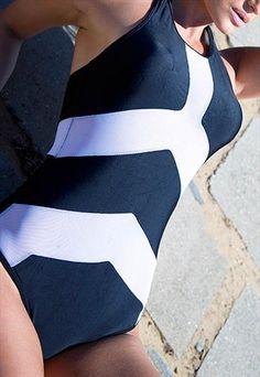 7843e50896ba39 Monochrome Symmetry Swimsuit Swimwear Fashion