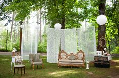 liking the outdoor louge area, just not with the curtains. Mirror on the tree is a nice touch.