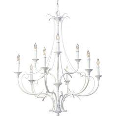 Feiss Peyton Saltspray 9-Light Semi-Gloss White Chandelier