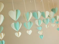 Bridal Shower Decorations / Shabby Chic Wedding Decor / mint and Ivory Paper Heart Garland / Wedding decorations / Custom Colors