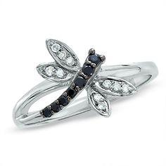 Enhanced Black and White Diamond Dragonfly Ring in 14K White Gold