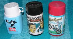 VINTAGE THERMOS LOT EVEL KNIEVEL KING KONG SIX MILLION DOLLAR MAN 1974 1977