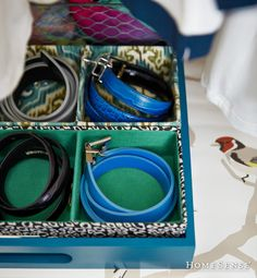 smart ways to organize your life; Organizing tray for jewellery and belts Home Sense Virginie Martocq Storage Organization, Organizing, Belt Storage, Homesense, Organize Your Life, Favorite Holiday, Best Brand, Household Items, Getting Organized