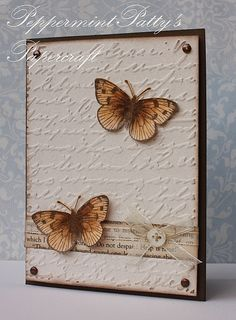 Peppermint Patty's Papercraft: Brads, button, bow and texture! Script embossing, printed paper, bow and button Tarjetas Stampin Up, Stampin Up Karten, Stampin Up Cards, Embossed Cards, Butterfly Cards, Simple Butterfly, Butterfly Shape, Butterfly Design, Card Making Inspiration
