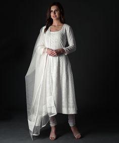 Off White Chikankari Hand Embroidered Anarkali Suit White Anarkali, White Kurta, Anarkali Suits, Cotton Anarkali, Kurta Designs Women, Salwar Designs, Blouse Designs, Indian Attire, Indian Wear