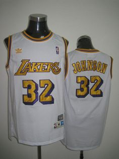 Adidas NBA Los Angeles Lakers 32 Magic Johnson Swingman White Throwback  Jersey 63fd239e3