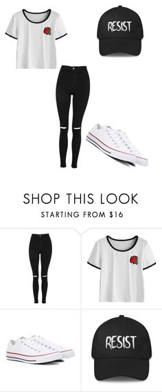 """Untitled #78"" by yamil-sotelo ❤ liked on Polyvore featuring Topshop and Converse"