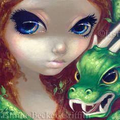 Faces of Faery 77 green dragonling redhead big eye by strangeling, $13.99