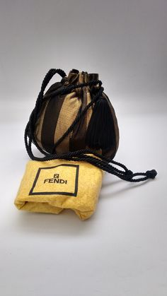 676d32fe36 FENDI Bag. Fendi Vintage Black and Brown Pequin Shoulder Evening Pouch Bag  with tassel.