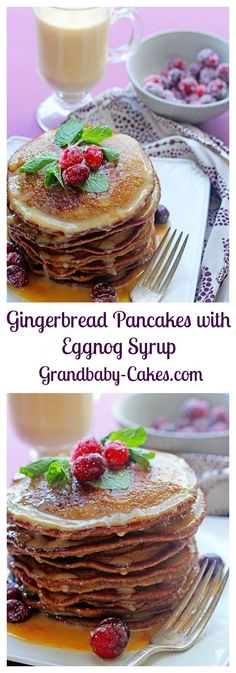 The perfect Holiday breakfast!  Gngerbread Pancakes with Eggnog Syrup | http://Grandbaby-Cakes.com