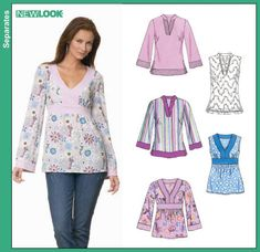 tunic tops patterns sewing | Patterns › New Look › Tops › 6677 Misses Tunic Top